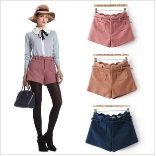Free shipping Europe style new arrival high waist wave edge slim cashmere shorts/ women bootcut