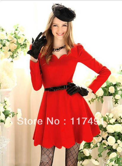 free shipping European and American dresses wave edge high waist skirt dresses Dignified Elegant zar*   ft199