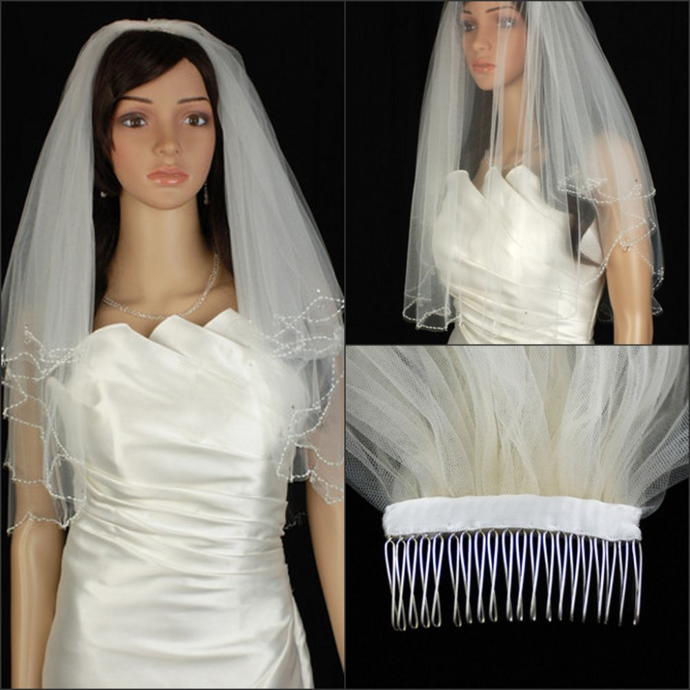 Free shipping Exquisite Fashion New 2 Tier White Elbow Beaded Scalloped Crystal Teardrop Trim Wedding Bridal Veil Beading