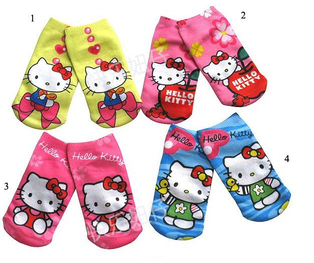 FREE SHIPPING factory direct sale socks Kitty kids socks baby socks cartoon design 2 sizes 4 colours selection