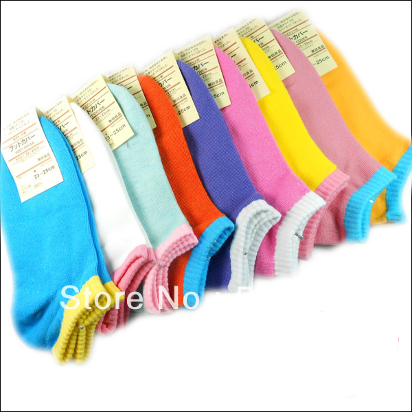 Free Shipping Fashion 100% cotton candy color invisible shallow mouth female women's sock slippers