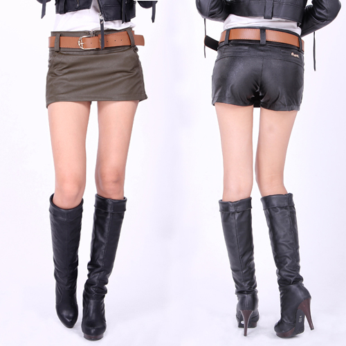 Free Shipping Fashion All Match Sexy Women's PU aCulottes Solid Color Female PU Shorts 2013 New In Wholesale Retail Dropship
