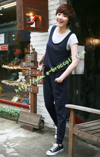 Free Shipping fashion comfortable 100% cotton jumpsuit Loose Causal Ladies' Jumpsuits(Black+Average)121213#8