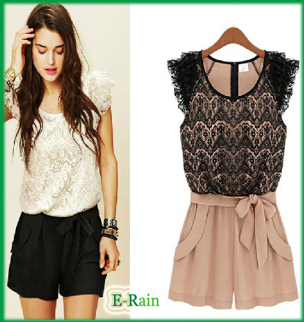 FREE SHIPPING Fashion Europe Lady Round Collar Dresses Lace Skirt  Women Color Mathching Jumpsuit