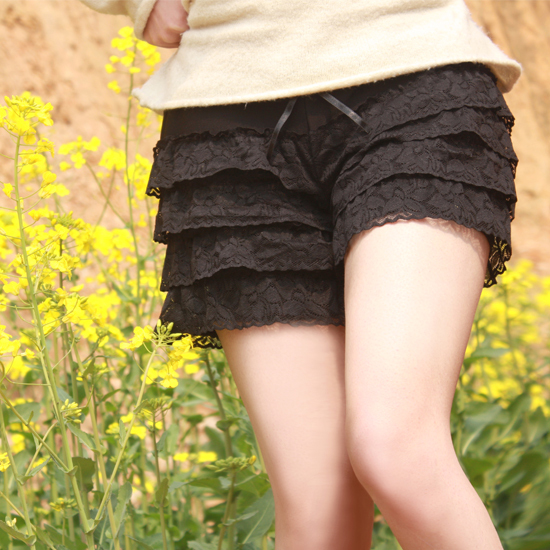 Free shipping fashion hot models Korean women lace leggings security loose solid color the sexy basic skirt pants shorts