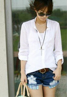Free Shipping Fashion Hot Sale Korean Style Grid Casual Holes Embellished Denim Shorts,Women's Shorts, Pants+Wholesale/Retail
