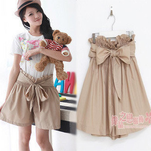 Free Shipping Fashion Korean Style 2013 New In Women's Loose Culottes Casual Solid Color Bow Embellished HIgh Waist Female Short
