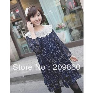 Free shipping ! Fashion lace hollow-out peacock big collar polka dot dress big size pregnant dress