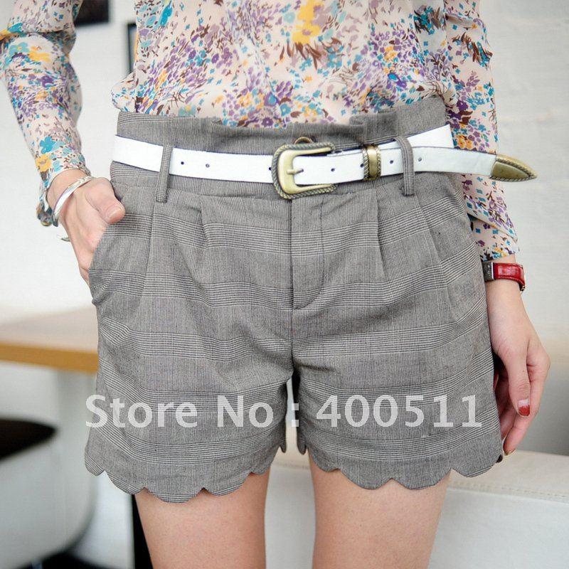 free shipping fashion ladies vintage check shorts c3985