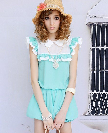 Free Shipping Fashion Lotus Leaf Turn-down Collar Jumpsuit Blue