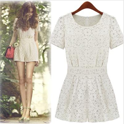 Free Shipping Fashion One piece Shorts Female Sweet Lace Crotch Cutout Short-sleeve Jumpsuit White