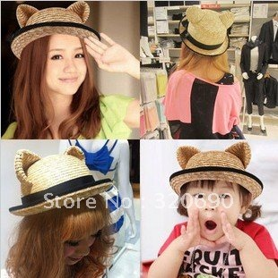 free shipping-fashion personality hat/VIVIone spo cat ears lovely,beautiful,straw hat,dome grass hat,women-retail