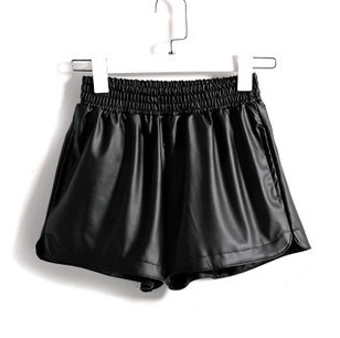 Free Shipping Fashion PU Leather Shorts For Women Leasure Boots Short Shorts Elastic Waist Casual Wear DK-016