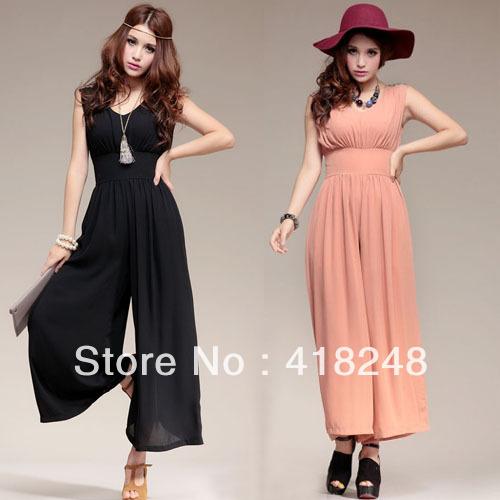 Free Shipping Fashion  Sleeveless Elegant Chiffon High Quality  Ladies'  Jumpsuit