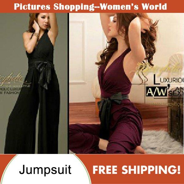 Free shipping! Fashion women leather belt slim jumpsuit wide-leg trousers