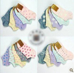 Free Shipping Fashion Women's Ankle Socks Sport dot loving heart stealth cotton boat floor sock slippers