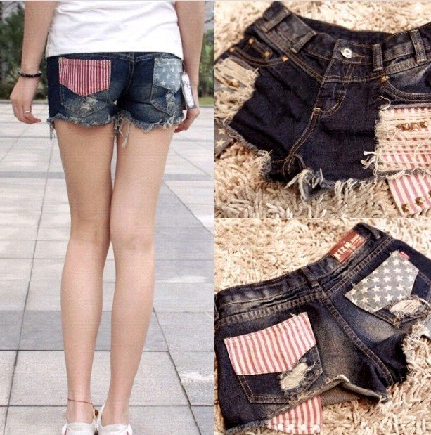 Free Shipping fashion women's Star striped denim shorts 8827 hot shorts