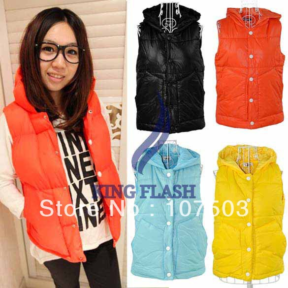 Free shipping Fashion Women's Waistcoat Slim Vest Thickened Hoodie Coat Jacket 4 colors 9094