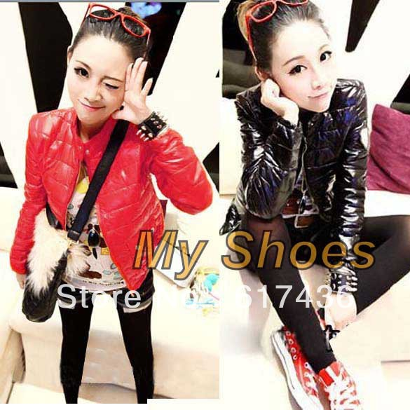 free shipping Fashion Women's Warm Winter Zipper Long Sleeve Short Outwear Coat Down Jacket Black, Red 8074