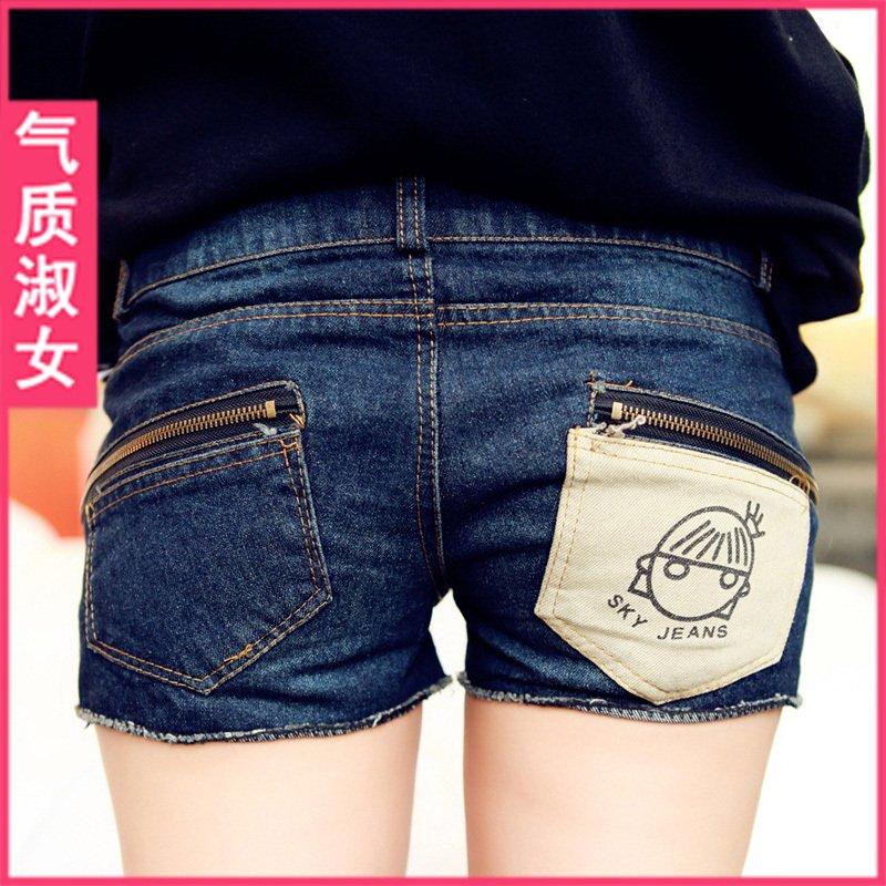 free shipping fashion women's zipper distrressed wearing white denim shorts hot trousers wholesale apparel drop ship 1443