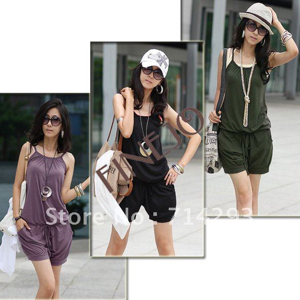 Free shipping Fashion Women Sleeveless Romper Strap Short Jumpsuit Scoop 3 Colors White, Black,Purple 3168