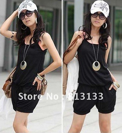 Free Shipping Fashion Women Sleeveless Romper Strap Short Jumpsuit Scoop