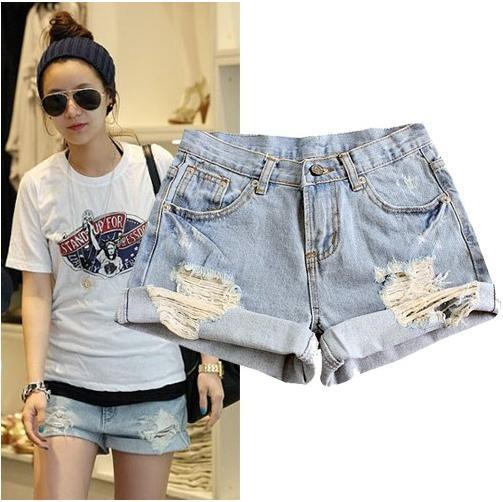 Free shipping,Fashion Wornout Hot Pants,Lady Wash Denim High-waist Shorts
