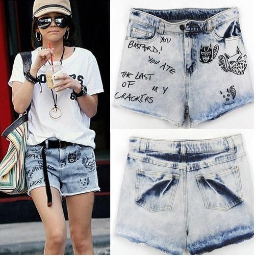 Free shipping,Fashion Wornout Hot Pants,Lady Wash Denim High-waist Shorts