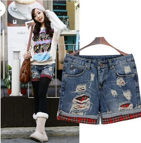 Free shipping,Fashion Wornout Hot Pants,Lady Wash Denim High-waist ShortsI0005