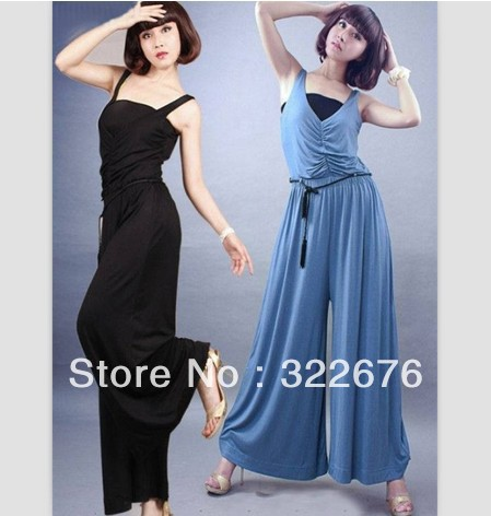 Free Shipping Fashionable Sexy V Neck Pleated Sleeveless Jumpsuits Blue With Belt JM12042023-1