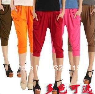 free shipping Female candy color pencil thin paragraph haroun pants lantern