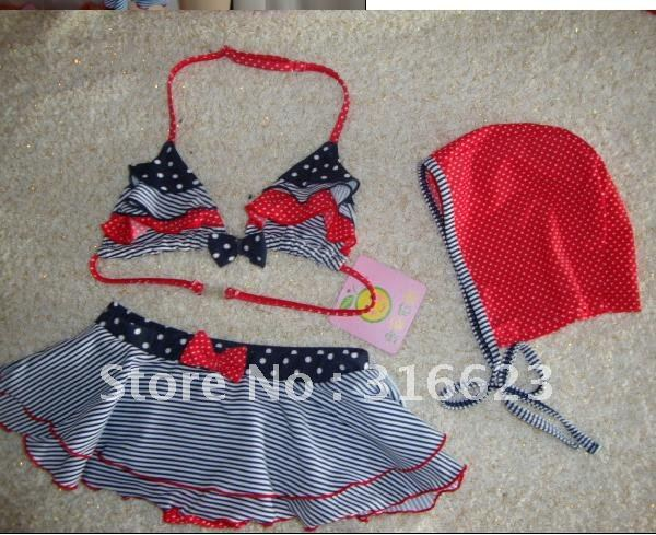 Free Shipping first-class qualitybaby girl stripe  print bikini swimwear 2~4T,child swimsuit,baby swimming suit, baby kid costum
