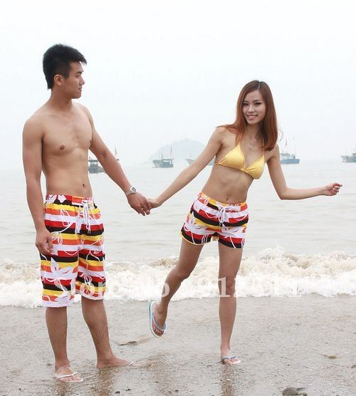 Free Shipping  Flowers Striped Cool  Beach Pants Women/Men Loose  Shorts  Lovers  Fashion Pants