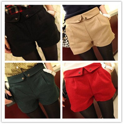 Free Shipping Four Colors Autumn Winter Women's Wool Straight Plus Large Casual Shorts, Flanging design of shorts