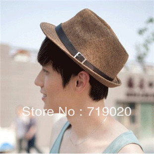 Free shipping Free shipping 2012 strawhat fedoras beach cap british style fashion male women's all-match small fedoras jazz hat