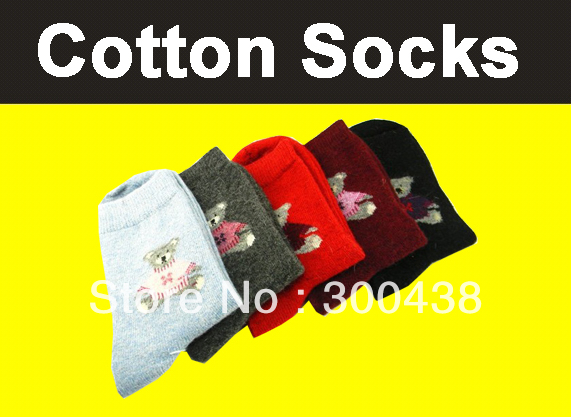 Free shipping!!!!Full Cotton thick socks for womens socks color mix 5 pairs / lot