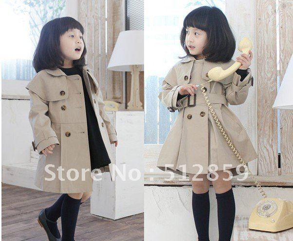 Free Shipping Girl's children's wear double breasted coat dust coat wholesale 4pcs/lot