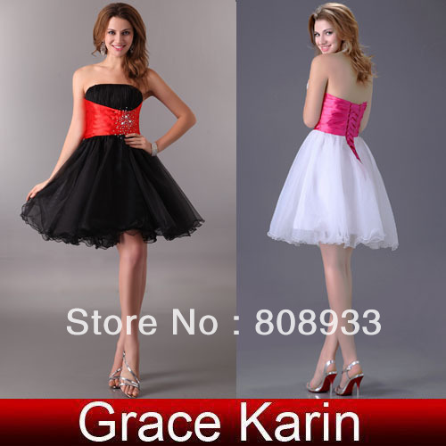 Free Shipping Grace Karin 1pc High Low Short Strapless Prom Dresses, White and Black CL1092
