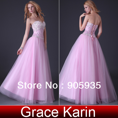Free Shipping Grace Karin 1pc Sparkle Sequins Sexy Strapless Corset-style Long Beaded Prom Dresses CL3519