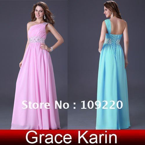 Free Shipping Grace Karin Stock One Shoulder Wedding Party Gown Prom Ball Evening Dress 8 Size CL3410