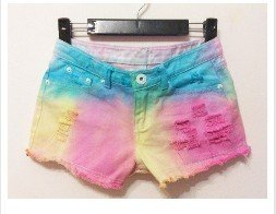 Free Shipping Gradient color fluorescence burr tassel tie dye Jeans Shorts