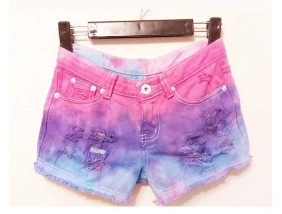 Free Shipping Gradient color fluorescence burr tassel tie dye Jeans Shorts MI90021