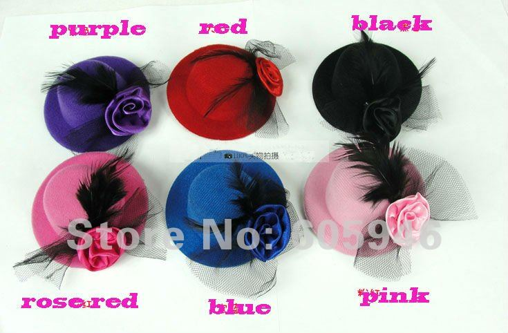 Free shipping hair cap clip.hair decorations, feather  headdress flower Royalty wedding party gift hats wholesale  6piece/lot