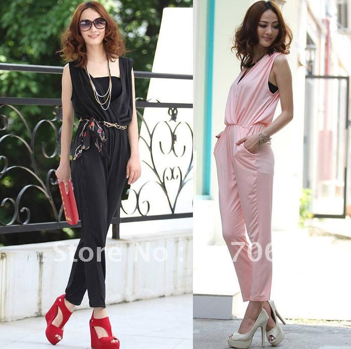 Free shipping harem jumpsuit V neck,Women's jumpsuit overall Harem pants ,size M,L   (send belt )  2 colour