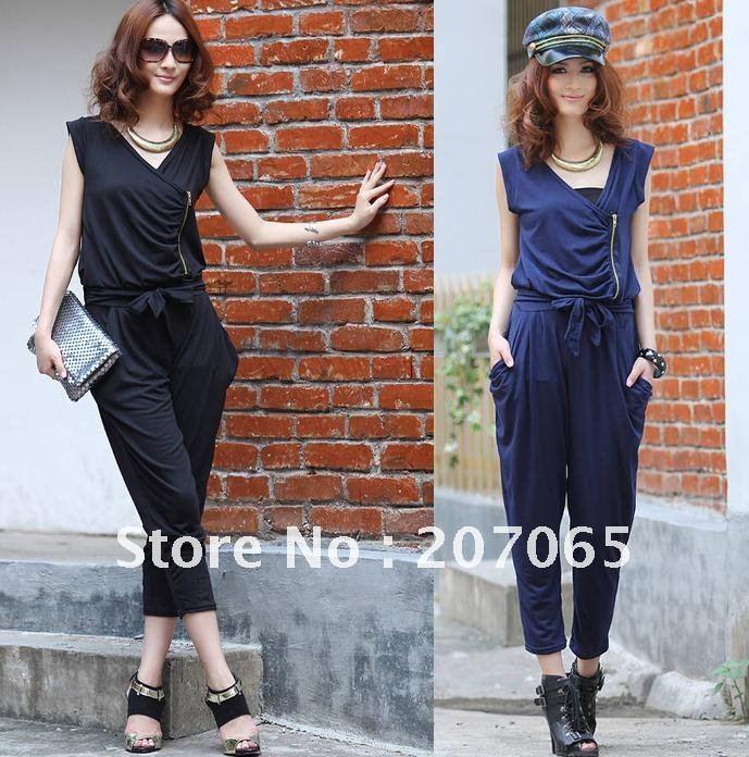 Free shipping  harem jumpsuit Zipper design ,Women's jumpsuit overall Harem pants v-neck   2 colour