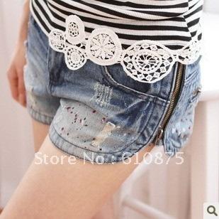 Free shipping high quality  denim shorts side zipper distrressed women's denim water wash shorts High Quality women shorts