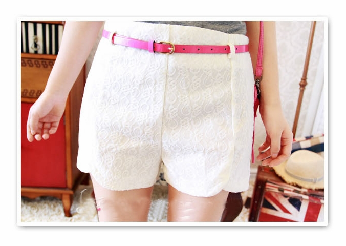 Free Shipping High Quality New Sexy Fashion Mini Lace Short Pants Shorts + White Belt