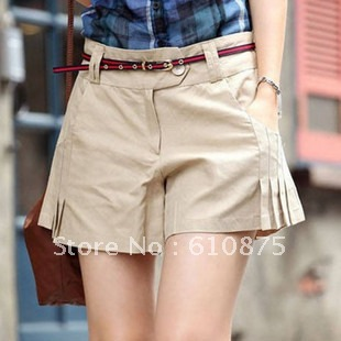 Free shipping high quality summer women's shorts ruched skorts solid color women's cotton shorts plus size
