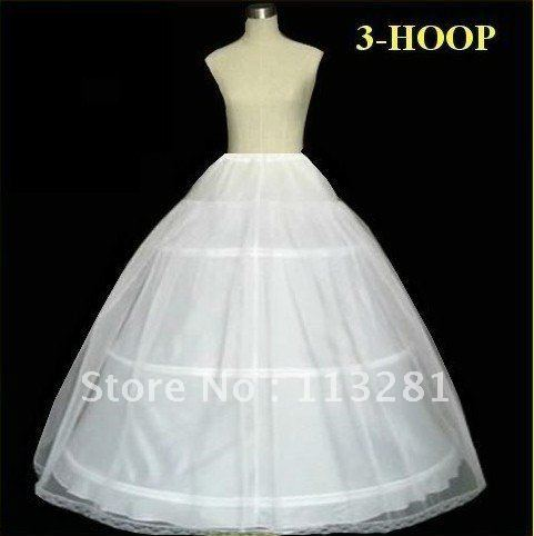 Free Shipping High Quality White Cheap Three Hoop Ball Gown Wedding Petticoat 2012