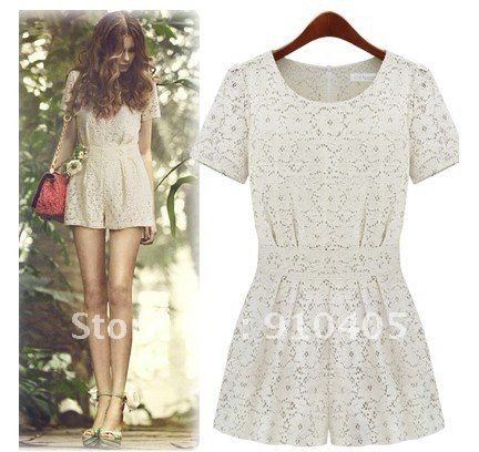 Free shipping High waisted skirt pants lace short-sleeved Jumpsuit
